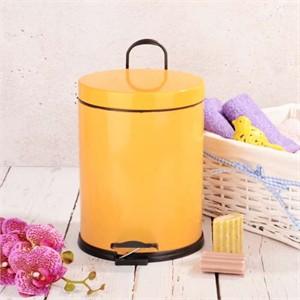 renkli paslanmaz 5 lt.pedallı çöp kutusu turuncu - sarı