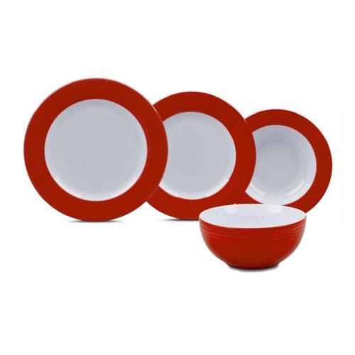 Karaca Mozaik Kırmızı 24 Parça Yemek Takımı