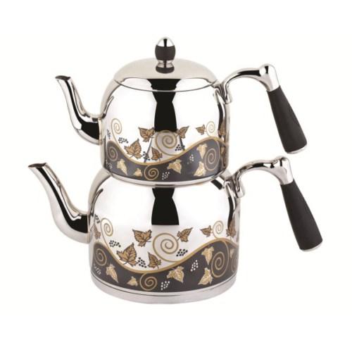 Özkent 386 Armine Desenli Mini Çaydanlık Siyah
