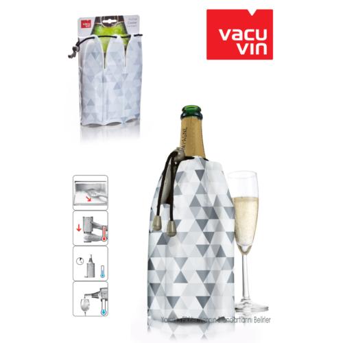 Vacu Vin Vacu Şampanya Soğutucu Kristal Desenli Gri Renkli