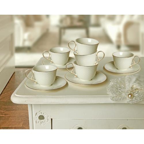 Vitale 12 Parça Gold Detaylı Kahve Fincanı Seti