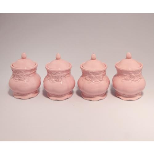 Vitale Pink Çiçekli 4'lü Set Küçük Baharatlık
