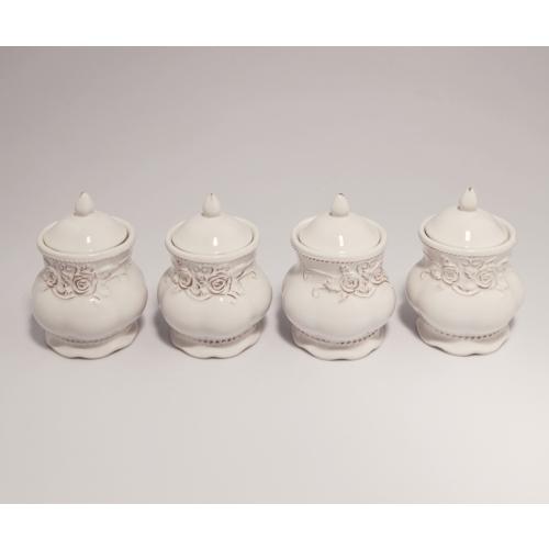 Vitale Cream Çiçekli 4'lü Set Küçük Baharatlık