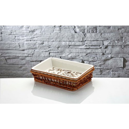 İhouse Rx11 Porselen Hasırlı Fırın Kabı Beyaz