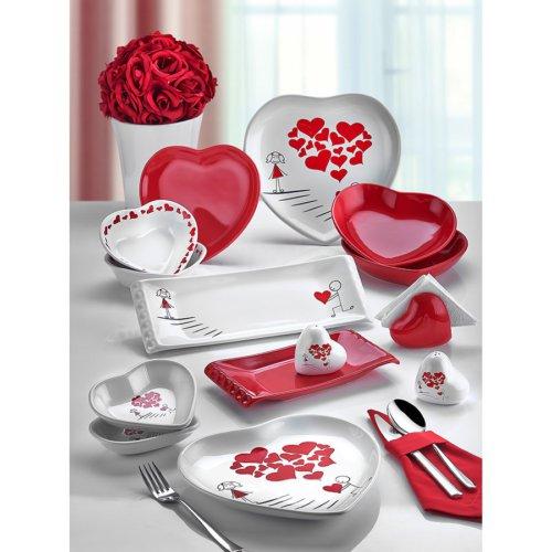 Keramika 35 Parça Kalp Yemek Takımı Sweet Love Red