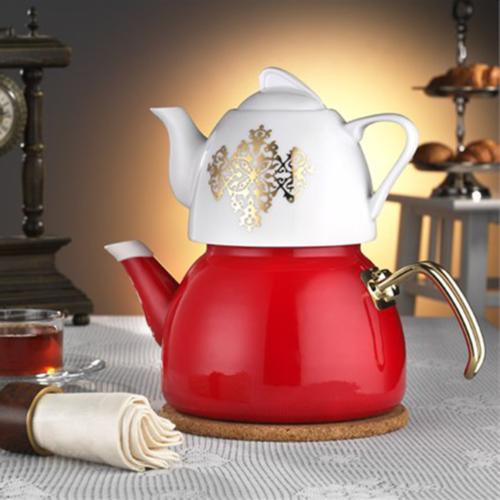 Dufy Home Çaydanlık Takımı Kırmızı 3,6 Litre