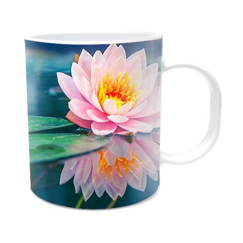 Fotografyabaskı Pembe Lotus Çiçeği Beyaz Kupa Bardak Baskı