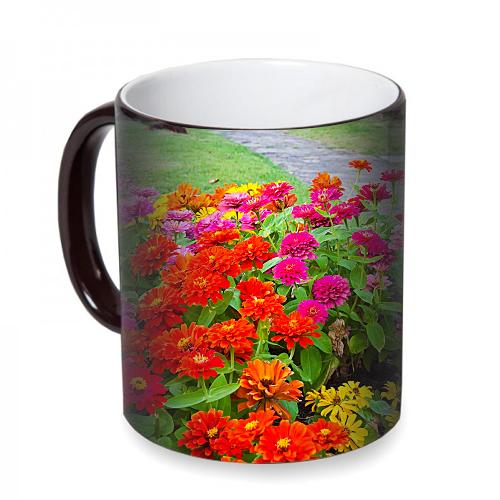 Fotografyabaskı Renkli Çiçekler Sihirli Siyah Kupa Bardak