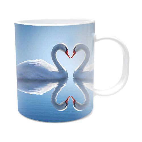Fotografyabaskı Kalp Kuğular Beyaz Kupa Bardak Baskı