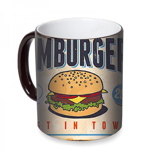 Fotografyabaskı Hamburger İlanı Sihirli Siyah Kupa Bardak Baskı