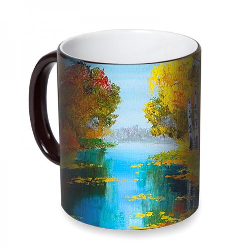 Fotografyabaskı Nehir ve Orman Sihirli Siyah Kupa Bardak Baskı