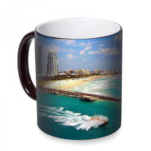 Fotografyabaskı Miami Sahili Florida Sihirli Siyah Kupa Bardak Baskı