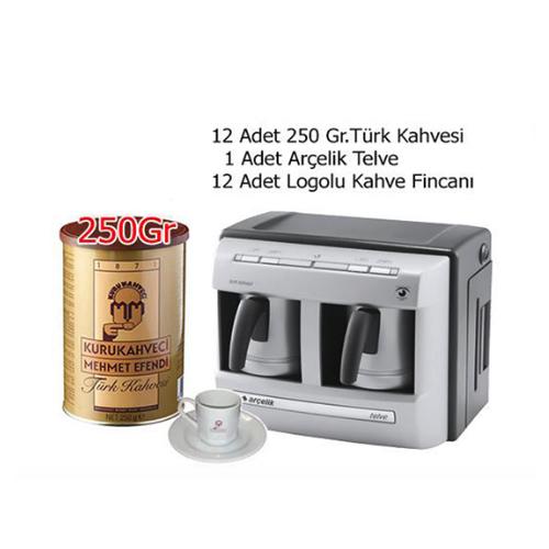 Arçelik 2'Li Telve+12 Kahve Fincan Takımı+12Kutu Mehmet Efendi 250Gram Teneke Kutu Türk Kahvesi