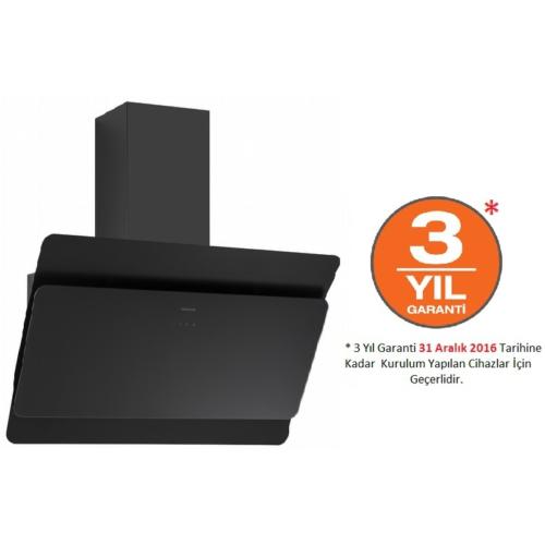Silverline Radial Black 60 Cm Yatay Siyah Cam Dekoratif Davlumbaz