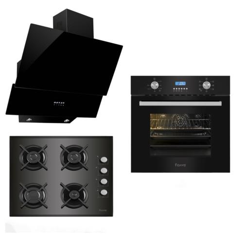 Ferre İtaliano Black 3'lü Ankastre Set (BE 6 LD Mutifonksiyon Fırın + 1140 CE New Döküm Izgara Cam Ocak + FME 600 Yatay Dekoratif Cam Davlumbaz)
