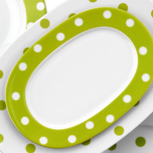 Kütahya Porselen 24 Cm Kayık Tabak Yeşil