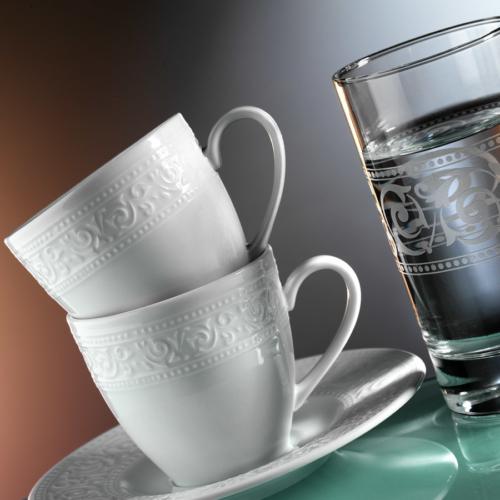 Kütahya Porselen Açelya 6 Kişilik Su Bardaklı Kahve Fincan Takımı