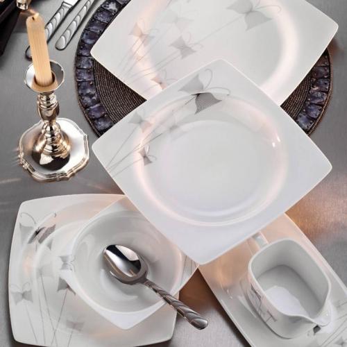 Kütahya Porselen Aliza Bone 83 Parça 25120 Desenli Yemek Takımı