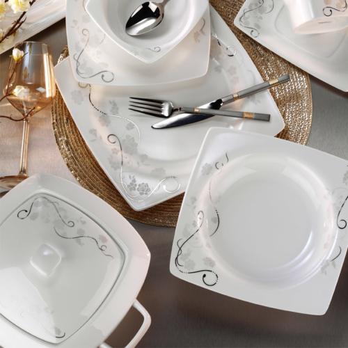 Kütahya Porselen Aliza Bone 83 Parça 25130 Desenli Yemek Takımı