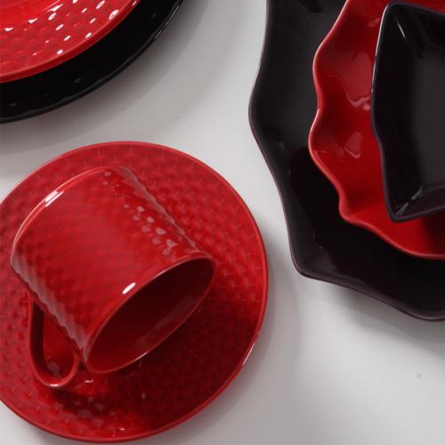 Kütahya Porselen Naturaceram Deniz Çay Takımı Kırmızı
