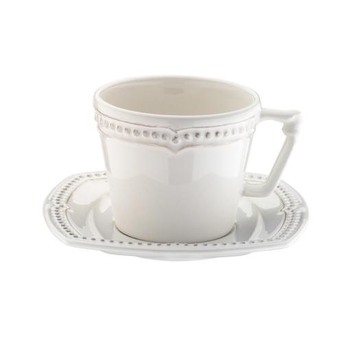 Naturaceram Dot Line Çay Fincanı Tabaklı Eskitme Beyaz