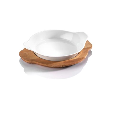 Kütahya Porselen Tavola 2 Parça Ahşap Tepsili Sunum Seti