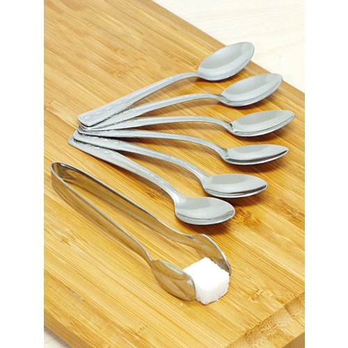 Kitchen Love Çelik 6 Adet Çay Kaşığı+Şeker Maşası