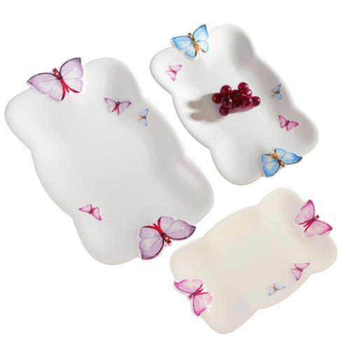 Noble Life Porselen 3Lü Kelebek Dikdörtgen Servis