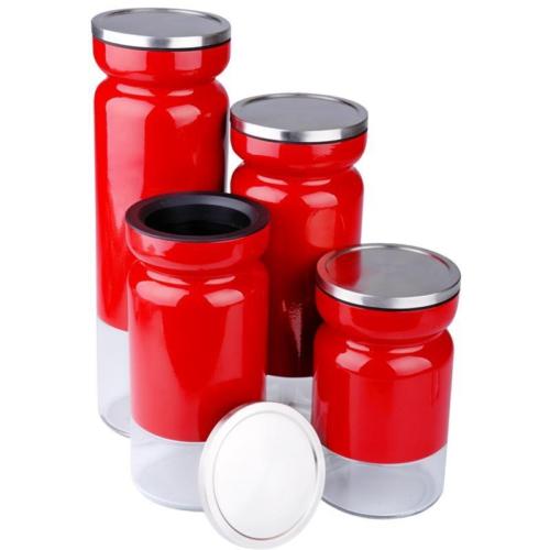 iHouse 2863 4 Lü Kavanoz Seti Kırmızı