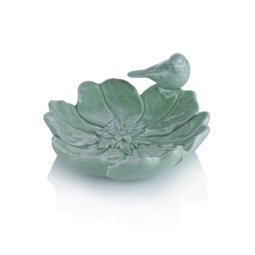 Porio M66-171 - Yeşil Çiçek Şeklinde Kuşlu Çerezlik 17 Cm