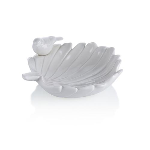 Porio M66-166 - Beyaz Yaprak Şeklinde Kuşlu Çerezlik 18 Cm