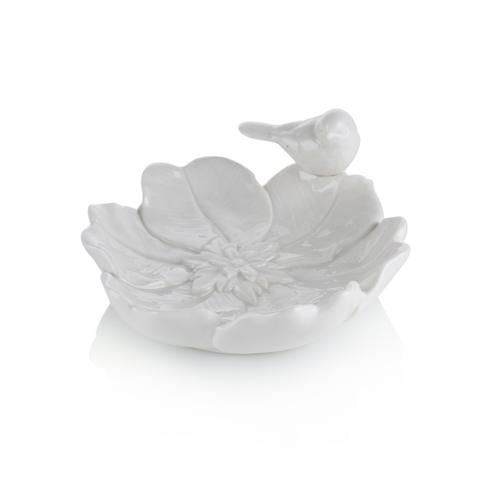 Porio M66-172 - Beyaz Çiçek Şeklinde Kuşlu Çerezlik 17 Cm