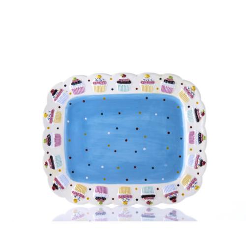 Porio M53-101-Puantiyeli Mavi Cupcake Tabak
