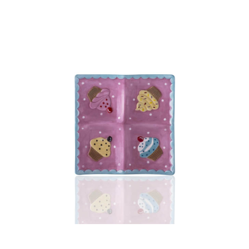 Porio M53-121 - Puantiyeli Pembe 4 Bölmeli Cupcake Küçük Tabak