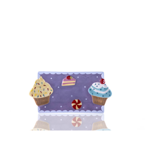 Porio M53-122 - Puantiyeli Mor Cupcake Küçük Tabak