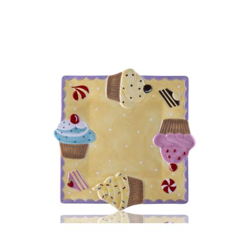 Porio M53-123 - Puantiyeli Sarı Kare Cupcake Tabak