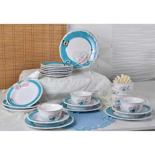 Keramika Takım Yemek Juliet 24 Parça Beyaz 004 Gizem Turkuaz