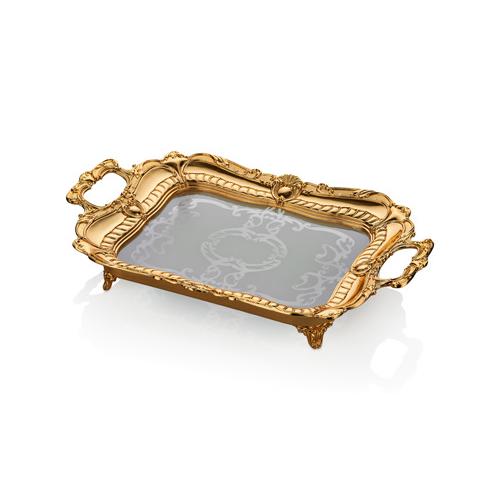 Cemile Altın Kaplama Amber Camlı Büyük Dik Tepsi