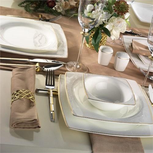 Kütahya Porselen Aliza Bone 83 Parça 65118 Desenli Yemek Takımı