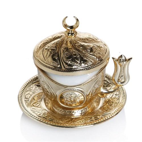 Sena Tiryaki Kahve Fincanı Hilalli Kutulu Altın Sarı