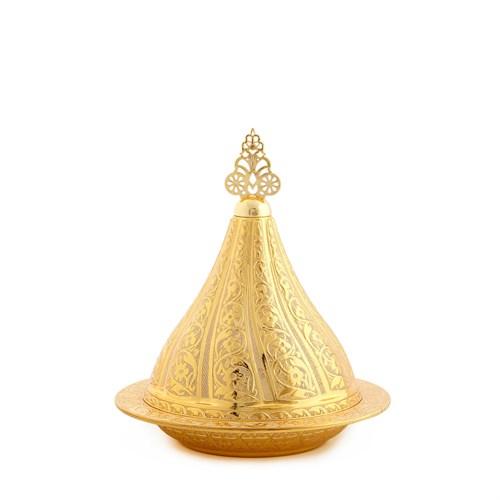 Sena Osmanlı Büyük Boy Kapaklı Şekerlik Altın Sarı