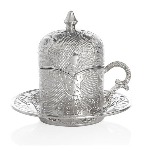 Sena Semazen Porselenli Kahve Fincanı Nikel