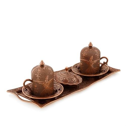 Sena Elif Semazen 2'Li Kahve Seti Antik Bakır