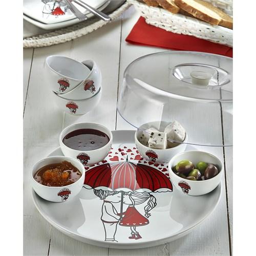 Keramika Set Hıtıt Kahvaltı 9 Parça Beyaz 004 Red Love Keramira A