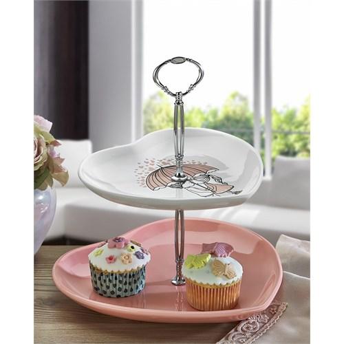 Keramika Set Meyvalık Kalp 2 Katlı Beyaz 004-Pembe 550 Pink Love Keramira A