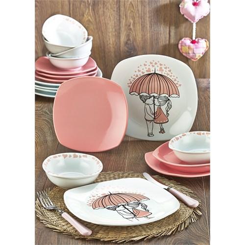 Keramika Takım Yemek Köşem 24 Parça Beyaz 004-Pembe 550 Pink Love Keramira A