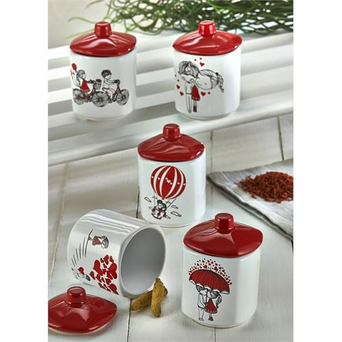 Keramika Takım Baharat Köşem 8 Cm 10 Parça Beyaz 004-Kırmızı 506 Red Love Keramira A