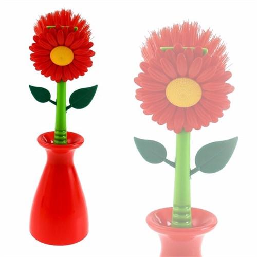 Atadan Saksılı Çiçekli Bulaşık Fırçası Oranj-Es89