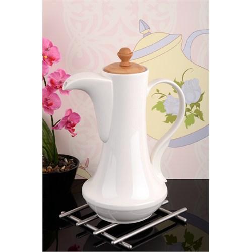 Paşahome Özel Tasarım Bambu Kapaklı Lüx Porselen Sürahi