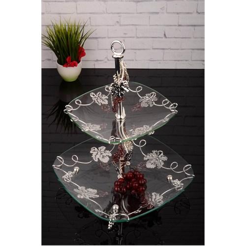 Paşahome El İşçiliği Lüx Üzüm Ve Yapraklı Gümüş Katlı Servis Seti
